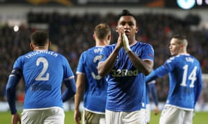 Alfredo Morelos celebrates with teammates after opening the scoring for Rangers.