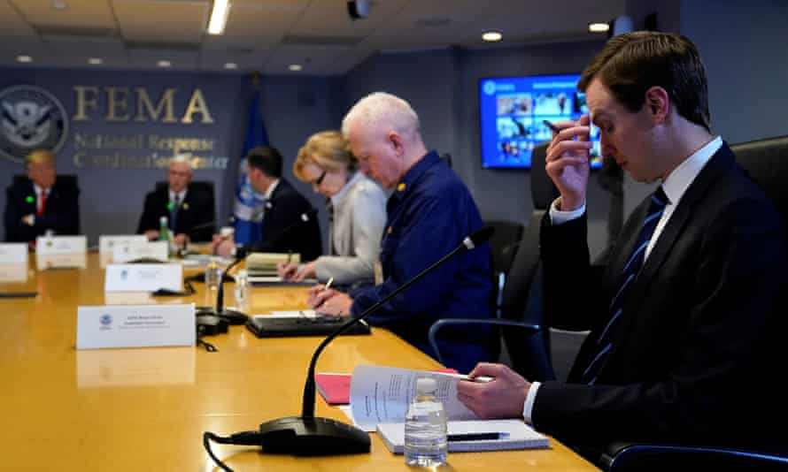 Jared Kushner attends a meeting at Fema headquarters in Washington with Donald Trump.