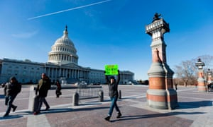 A demonstrator outside the US Capitol in Washington DC on Wednesday.