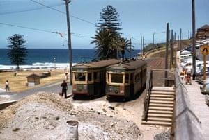 Trams at the Bronte beach terminus in 1959