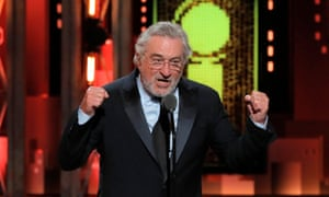 De Niro making his Tony awards speech last June, in which he railed against Donald Trump.