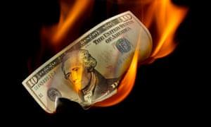 dollar bill fire