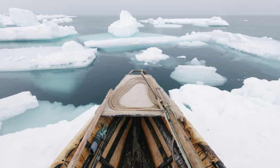 She sounds … an image by Kiliii Yuyan showing an umiaq, or open-skin boat, during spring whaling.