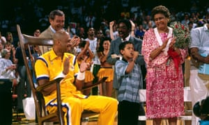 Kareem Abdul-Jabbar at a ceremony before his last game for the Los Angeles Lakers, in 1989