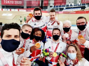 Today's ParalympicsGB medal winners in the Velodrome - (left to right) Lewis Stewart, Neil Fachie, Kadeena Cox, Jaco Van Gass, James Ball, Jody Cundy, Aileen McGlyn, Helen Scott and Matthew Rotherham.