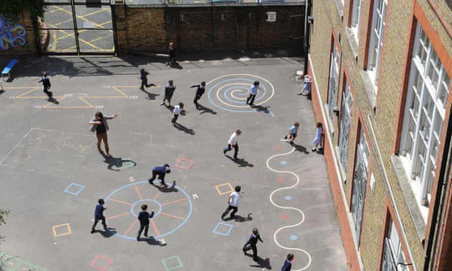 Children in school playgrounds