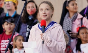 Activist Greta Thunberg speaks at a climate change rally in Denver, Colorado, on a tour of the Americas.