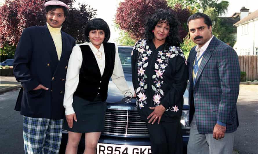Meera Syal in Goodness Gracious Me with co-stars Kulvinder Ghir, Nina Wadia and husband Sanjeev Bhaskar.