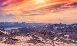Reach your peak: the Alps around Cervinia, seen at sunset in a rosy glow.