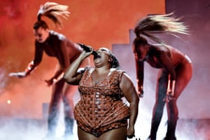 US singer Lizzo, who was nominated for best international female artist, performs at the Brits.