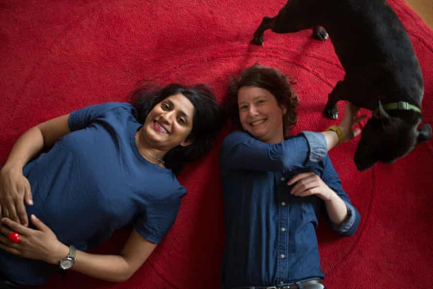 Chitra Ramaswamy with her partner Claire and their dog.