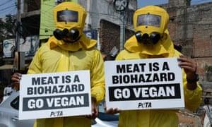 Peta activists in biohazard suits
