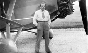 Antoine de Saint-Éxupery posing in front of his plane. S