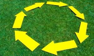 Yellow arrows circle grass