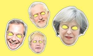 Nigel Farage, Jeremy Corbyn, Theresa May and Boris Johnson