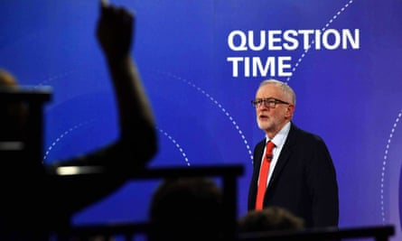 Jeremy Corbyn during BBC Question Time leaders'  debate in Sheffield on 22 November.