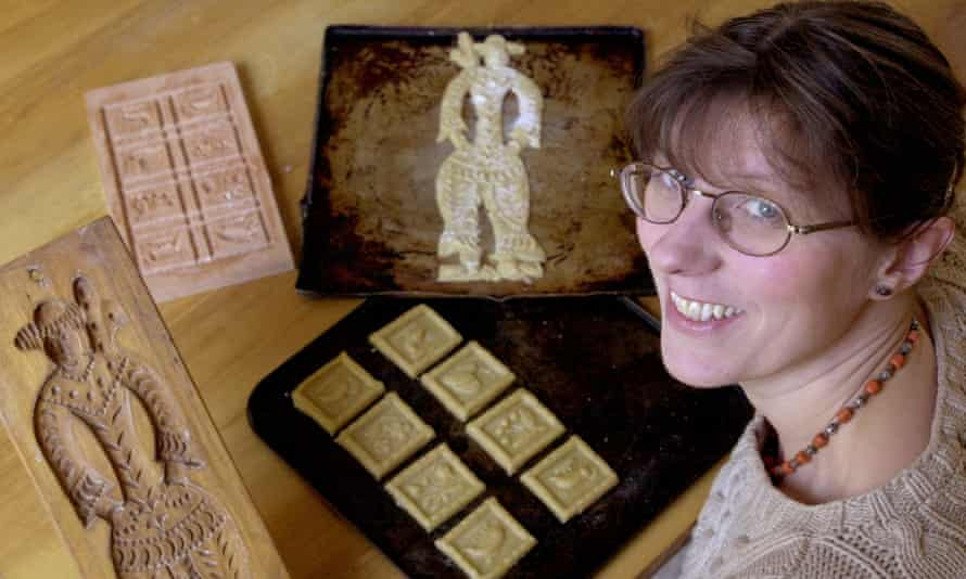 Laura Mason in 2002 with some traditional gingerbread moulds.