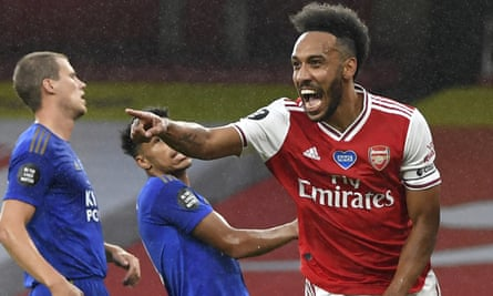 Pierre-Emerick Aubameyang celebrates opening the scoring for Arsenal