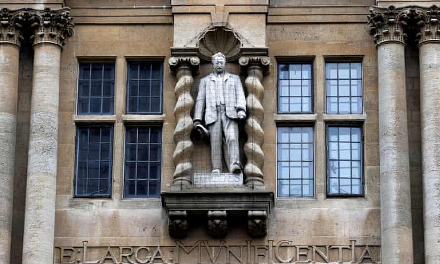 A statue of Cecil Rhodes outside Oriel College in Oxford