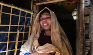 Rohingya refugee Nur Begum after the death of her six-month-old son Alam in a refugee camp in Teknaf, in Bangladesh, on 26 November
