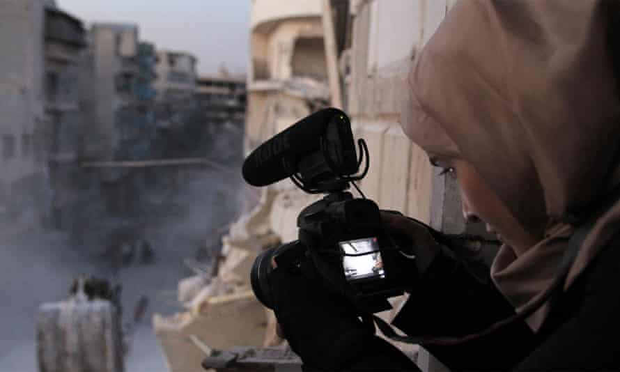 Waad al-Kateab filming in Aleppo in her Oscar-nominated documentary For Sama.
