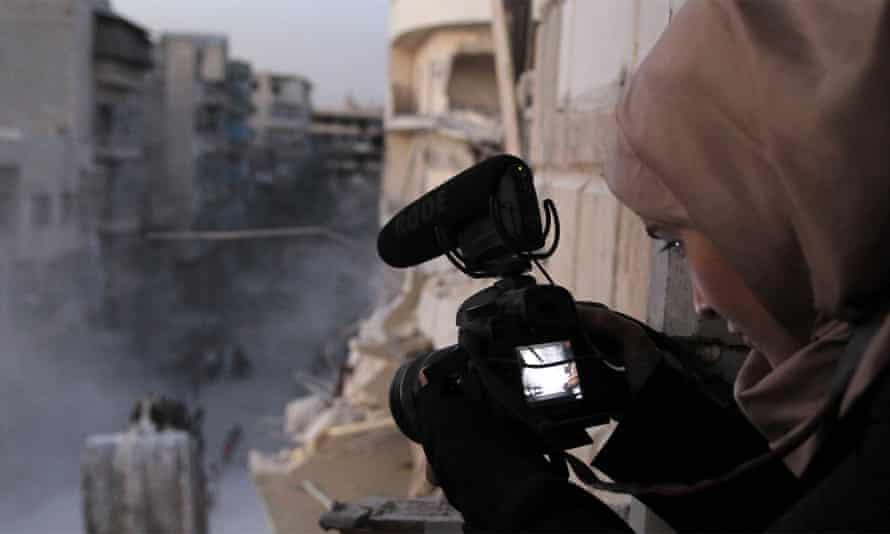 Waad al-Kateab filming in east Aleppo in For Sama.