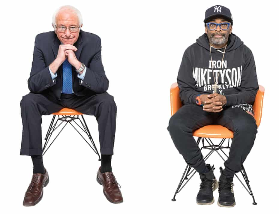 US senator Bernie Sanders and film-maker Spike Lee sitting in orange chairs, talking