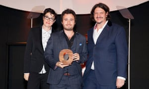 Outstanding Achievement - Social BiteJosh Littlejohn, owner of the Glasgow based chain of sandwich shops, with Sue Perkins and Jay Rayner. One in four of Social Bite's staff are formerly homeless.