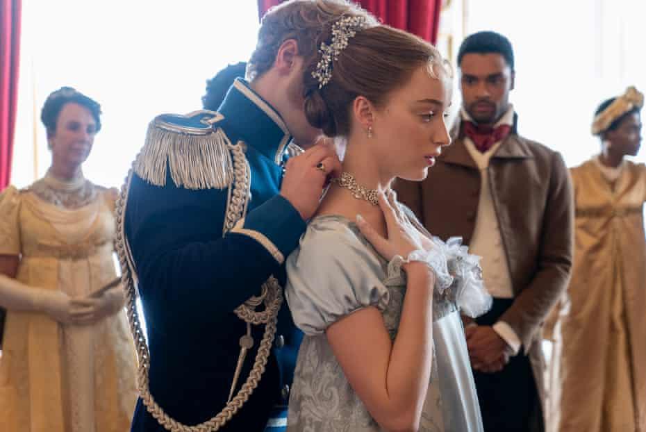 L-r: Freddie Stroma as Prince Friederich, Phoebe Dynevor as Daphne Bridgerton and René-Jean Page as the Duke of Hastings in Bridgerton.
