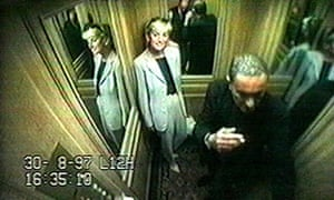 CCTV images of Diana, Princess of Wales with Dodi Fayed inside the lift of the Ritz Hotel, Paris, 30 August 1997.