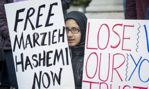 Supporters of Marzieh Hashemi demonstrate in Washington.