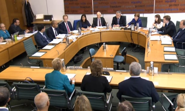 Members of IICSA give evidence to the Commons home affairs committee in London.