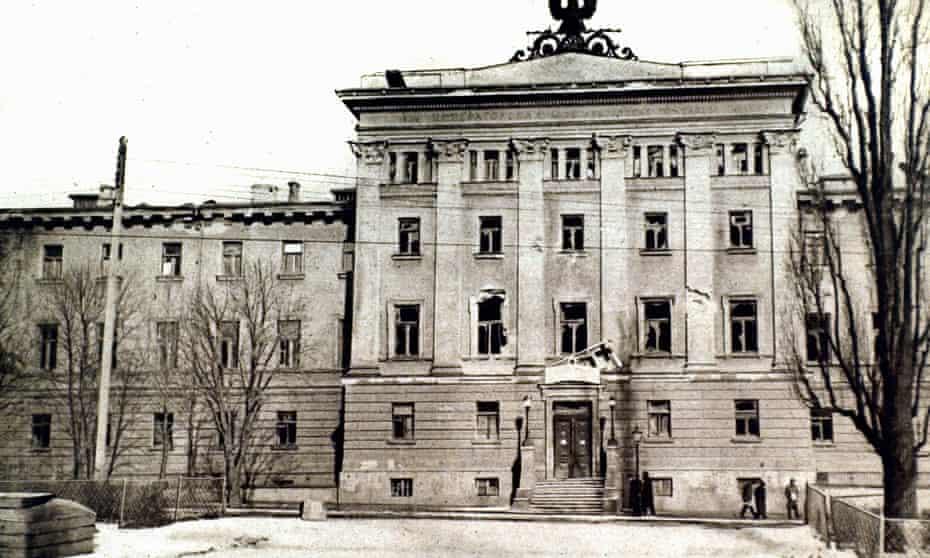 The Alexandra Hospital after Bolshevik shelling, Kiev, Ukraine, 1918.