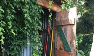 Allotment shed, Watford. 'This is my shed, built for me by Joe, a fellow allotmenteer, when my previous shed was accidentally burnt down. It is made from less flammable corrugated tin and other scavenged/recycled bits of wood. Inside, Joe put pallet shelves, hooks and nails so I could keep it tidy!'