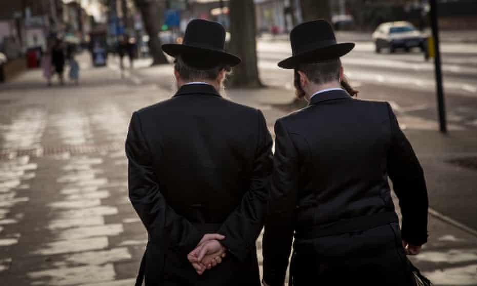 Jewish men in Stamford Hill, north London.