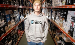 Shuan Loughlin, the founder and director of Freestyle Extreme pictured in their Bristol warehouse from where they distribute action sports products