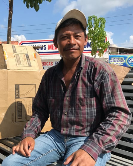 Jesús Canan, a member of the Central American migrant caravan, in the Mexican town of Huixtla.