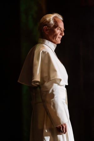 Anton Lesser, who plays Qyburn, portrays Pope Benedict XVI in The Pope by Anthony McCarten at the Royal and Derngate theatre in Northampton.