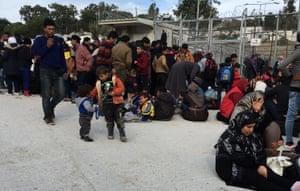 refugees women children men Greece