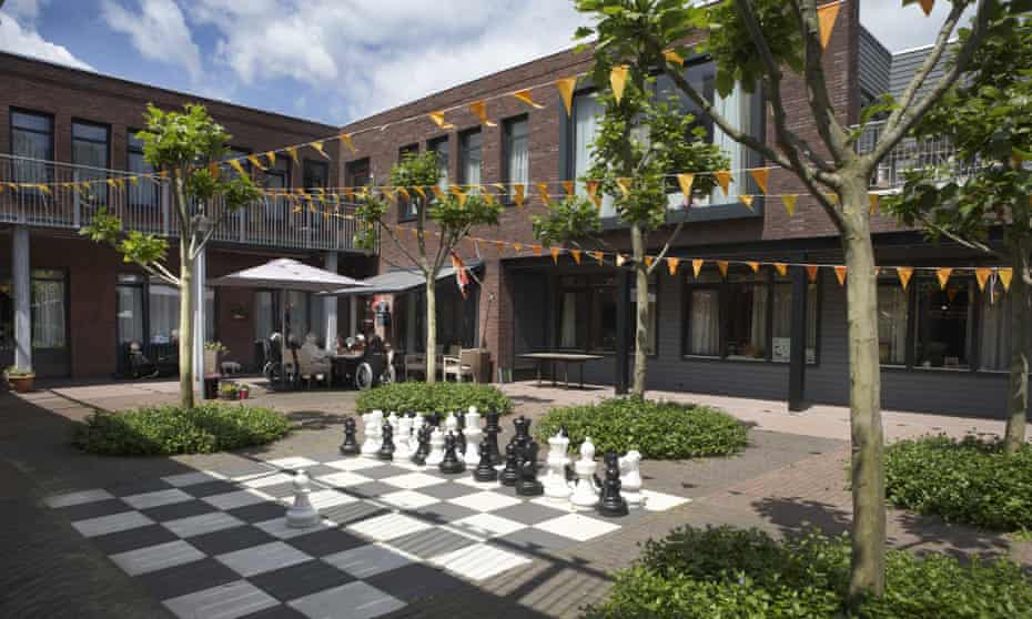 Dutch dementia village, gated community called De Hogewejk in Weesp where people with dementia are cared for. The big square in 'De Hogeweyk'