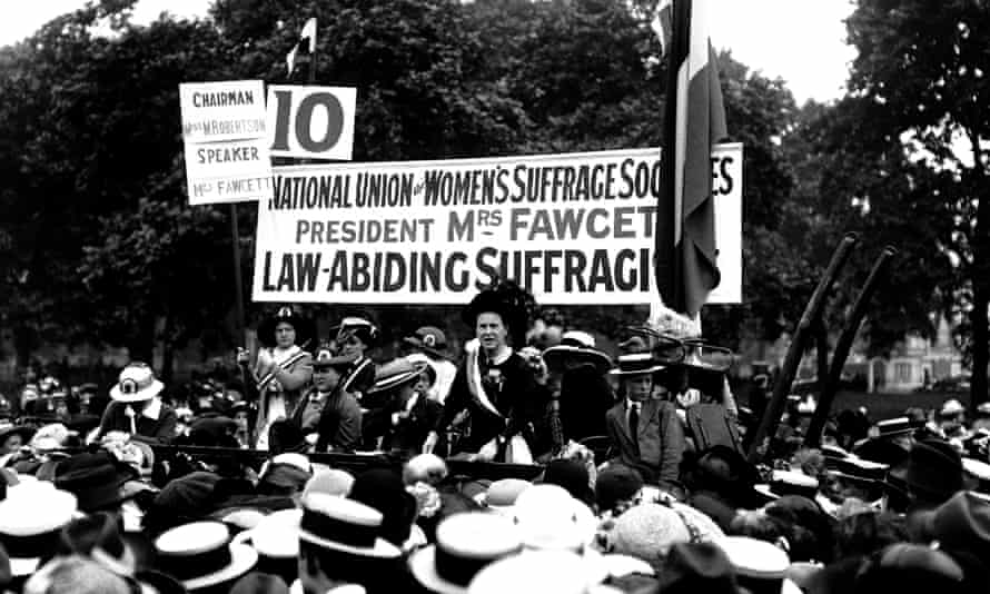 Millicent Fawcett, who founded the National Union of Women's Suffrage, speaks at the Suffragette Pilgrimage in Hyde Park.