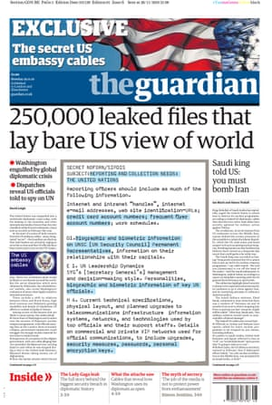 Guardian front page: '250,000 leaked files that lay bare US view of world'