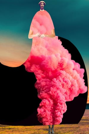 From the project Imaginary Beings , a series of collages of people wearing surreal garments such as clouds or trains or bird wings by New York based artist Johanna Goodman.