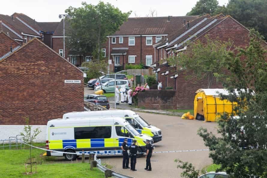 Police at work on Biddick Drive following the shootings in Keyham, Plymouth on Thursday evening.