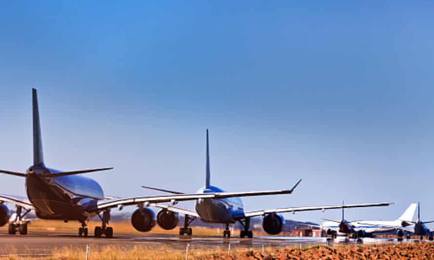 Plane line up at Sydney airport