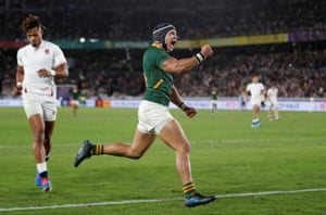 Kolbe celebrates as Anthony Watson realises England's World Cup dream is over.