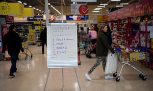 Shopping restrictions at a supermarket in Warrington march 2020