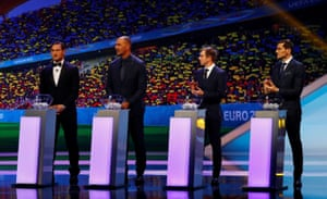 Francesco Totti, Ruud Gullit, Philipp Lahm and Iker Casillas line up for the draw.