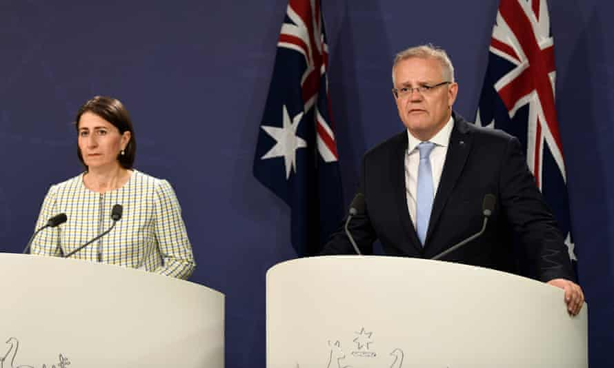 New South Wales premier Gladys Berejiklian and prime minister Scott Morrison announcing a new multibillion-dollar fund to open up gas for the domestic market and to fund emissions reduction projects.