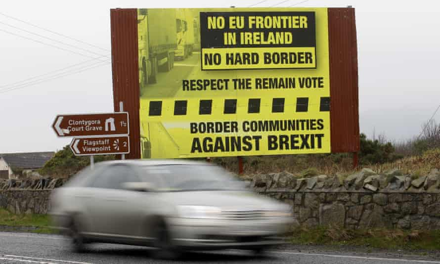 A sign beside a road near the Irish border